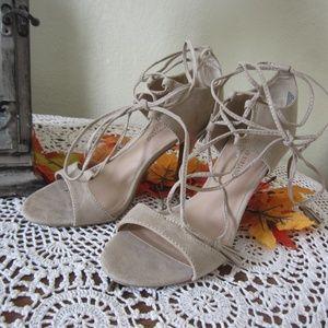 Christian Siriano Tan leather wrap strap heels 9